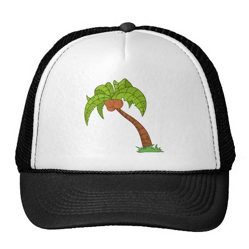 Cartoon Palm Tree Trucker Hats