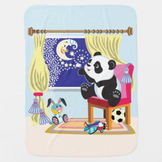 cartoon panda and moon receiving blankets