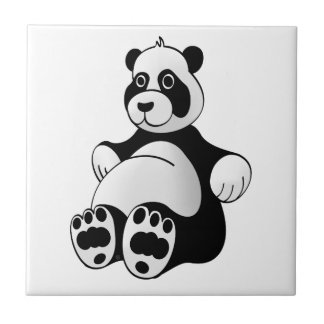 Cartoon Panda Bear Stuffed Animal Tile