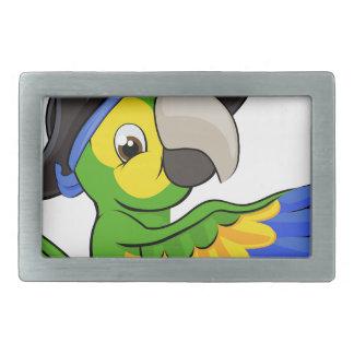Cartoon Parrot in Pirate Hat Belt Buckles