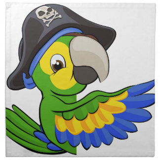 Cartoon Parrot in Pirate Hat Napkin