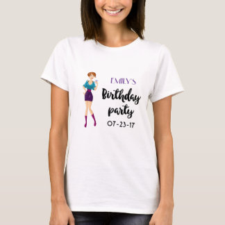 Cartoon Party Girl Holding Drink Birthday T-Shirt