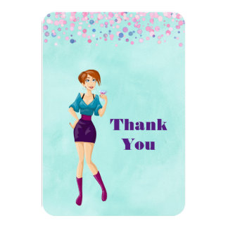 Cartoon Party Girl with Pink Confetti Thank You Card
