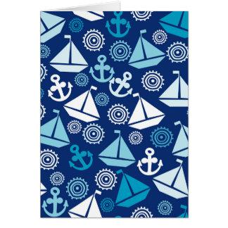 Cartoon Pattern With Sailboats Card