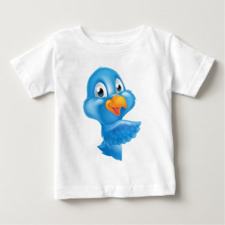 Cartoon Peeking Pointing Bluebird Baby T-Shirt