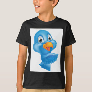 Cartoon Peeking Pointing Bluebird T-Shirt