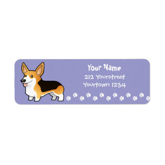 Cartoon Pembroke Welsh Corgi Return Address Label