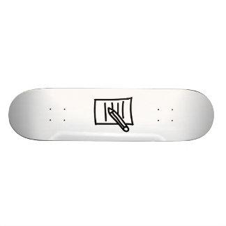 Cartoon Pencil and Paper Skate Deck