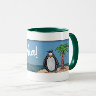 Cartoon Penguin Beach Aloha Mug