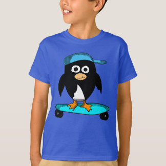 Cartoon Penguin on a skateboard shirt