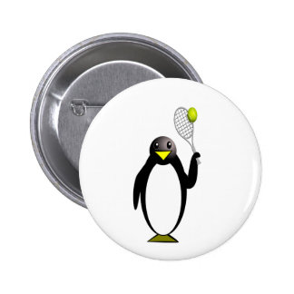 Cartoon Penguin Playing Tennis 6 Cm Round Badge