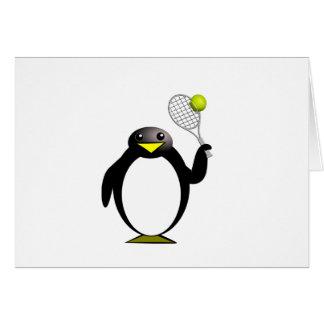 Cartoon Penguin Playing Tennis Card