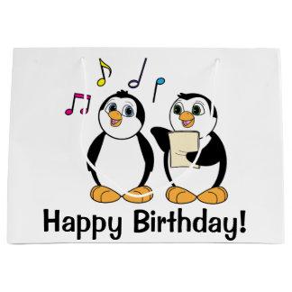 Cartoon Penguins Singing Happy Birthday Large Gift Bag
