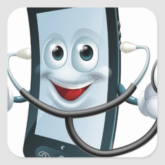 Cartoon phone character holding a stethoscope square stickers