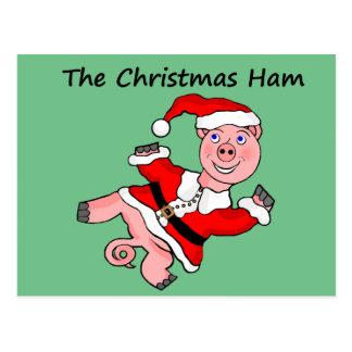 Cartoon Pig Christmas Postcard