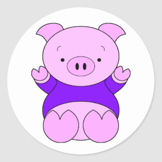 Cartoon Pig Classic Round Sticker