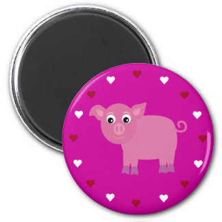 Cartoon Pig & Hearts Customizable Pink Charity 6 Cm Round Magnet