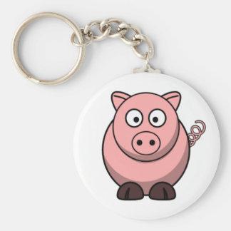 Cartoon Pig Basic Round Button Key Ring