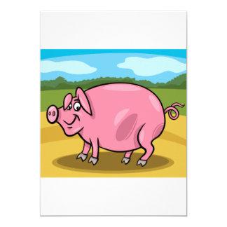 Cartoon Pig On A Farm Invitations
