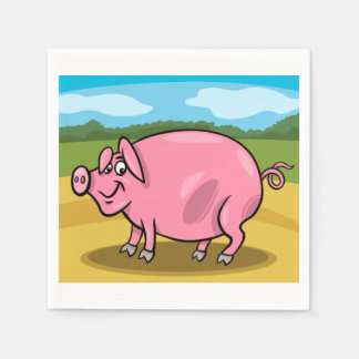 Cartoon Pig On A Farm Paper Napkins Paper Napkin
