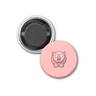 Cartoon Pig with Pink Background Fridge Magnet