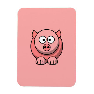 Cartoon Pig with Pink Background Vinyl Magnets