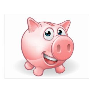 Cartoon Piggy Bank Postcard