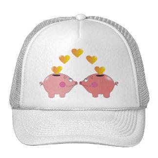 Cartoon Piggy Banks in Love Cute Hats