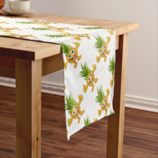 Cartoon Pineapple Fruit Mascot Character Short Table Runner