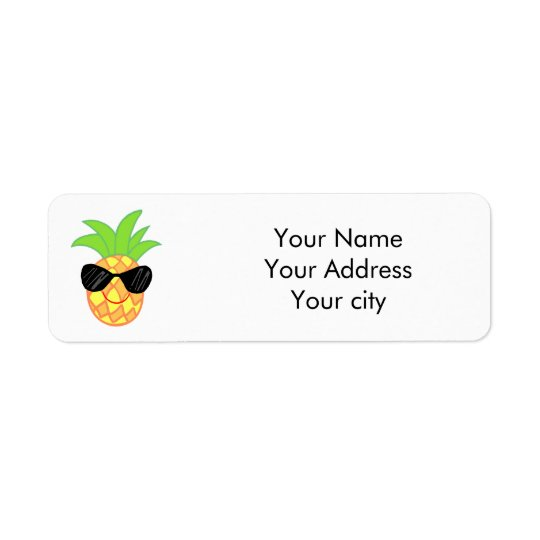 cartoon pineapple return address label