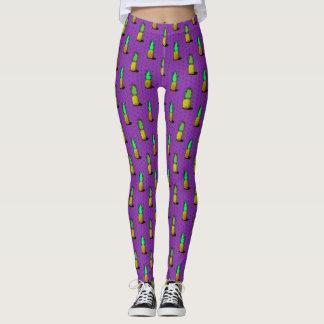 Cartoon Pineapples on a Purple Background Leggings