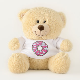 Cartoon Pink Donut With Icing Teddy Bear