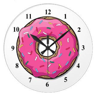 Cartoon Pink Donut With Sprinkles Clocks