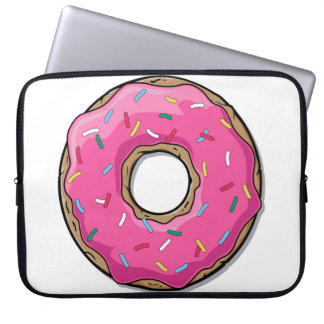 Cartoon Pink Donut With Sprinkles Laptop Sleeve