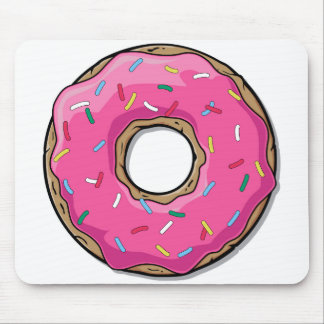 Cartoon Pink Donut With Sprinkles Mouse Pad