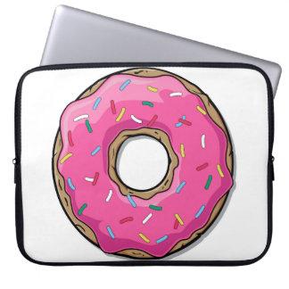 Cartoon Pink Doughnut With Sprinkles Laptop Sleeve