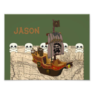 Cartoon Pirate Ship Personalize Art Photo