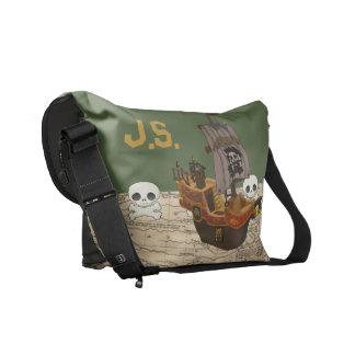 Cartoon Pirate Ship Personalize Messenger Bag
