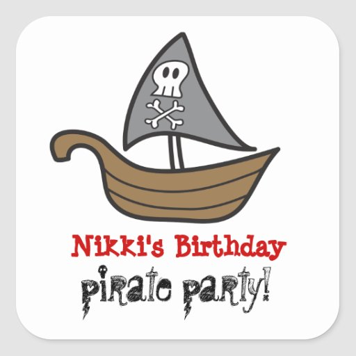 Cartoon Pirate Ship Skulls & Bones Party Sticker