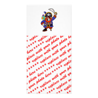 Cartoon Pirate With Peg Leg And Sword Customized Photo Card