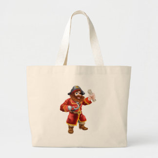 Cartoon pirate with treasure map canvas bags