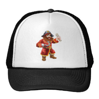 Cartoon pirate with treasure map trucker hat