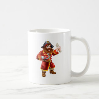 Cartoon pirate with treasure map mugs