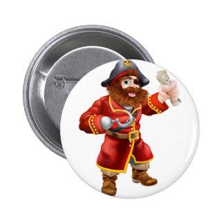 Cartoon pirate with treasure map pin