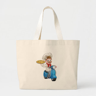 Cartoon Pizza Chef on Delivery Moped Scooter Large Tote Bag