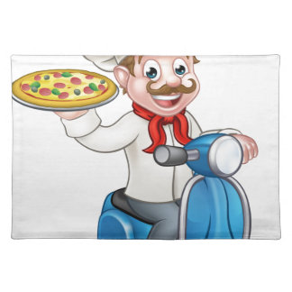 Cartoon Pizza Chef on Delivery Moped Scooter Placemat