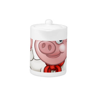 Cartoon Pizza Chef Pig Character Mascot