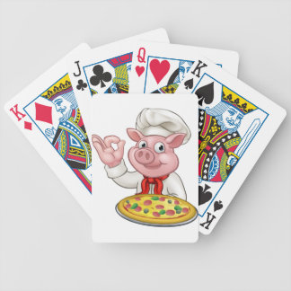 Cartoon Pizza Chef Pig Character Mascot Bicycle Playing Cards