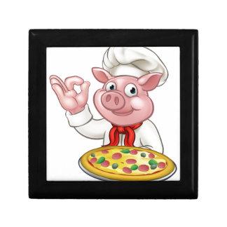 Cartoon Pizza Chef Pig Character Mascot Gift Box