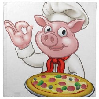 Cartoon Pizza Chef Pig Character Mascot Napkin